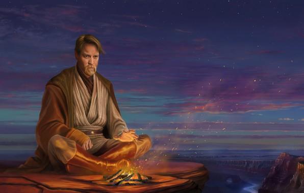 Photo wallpaper sunset, clouds, the sky, Ewan McGregor, jedi, art, the fire, obi wan, Obi-Wan Kenobi, star ...