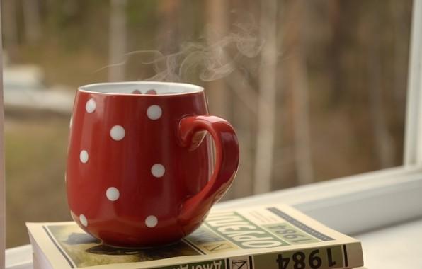 Picture autumn, comfort, mood, books, hot tea, hot coffee