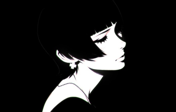 Picture eyelashes, haircut, black and white, neck, bangs, closed eyes, portrait of a girl, Ilya Kuvshinov, …