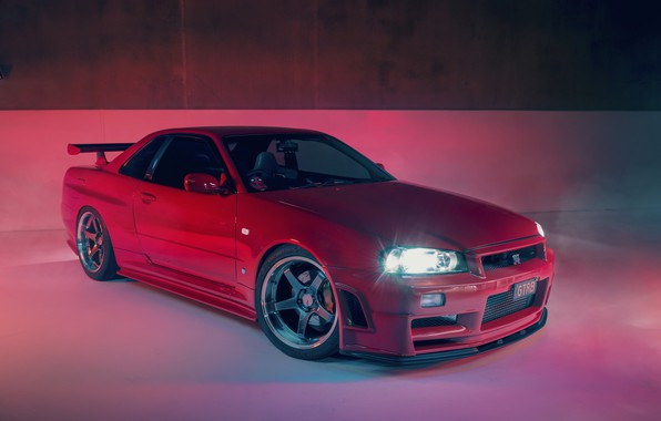 Picture GTR, Nissan, R34, RED, Skylilne