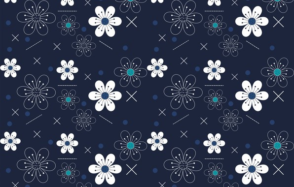 Picture flowers, texture, blue background
