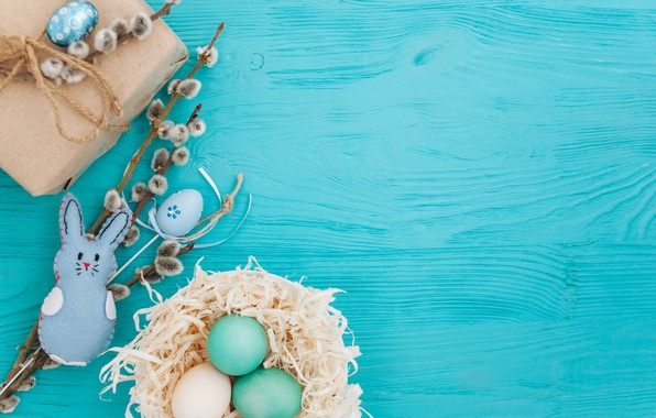 Picture branches, gift, eggs, spring, Easter, wood, Verba, blue, gift, spring, Easter, eggs, decoration, Happy, tender