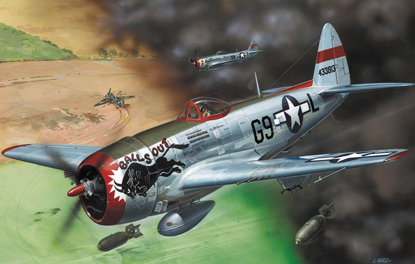 Picture art, Thunderbolt, USAF, fighter-bomber, WW2, Republic, Jug, P-47D-30, T-bolt, Heavy fighter