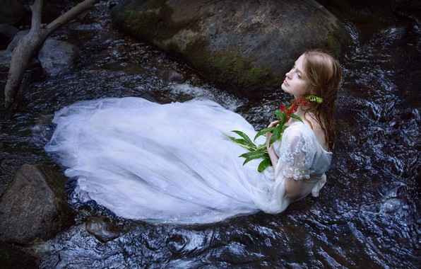 Picture flower, girl, river, mood, the situation, dress