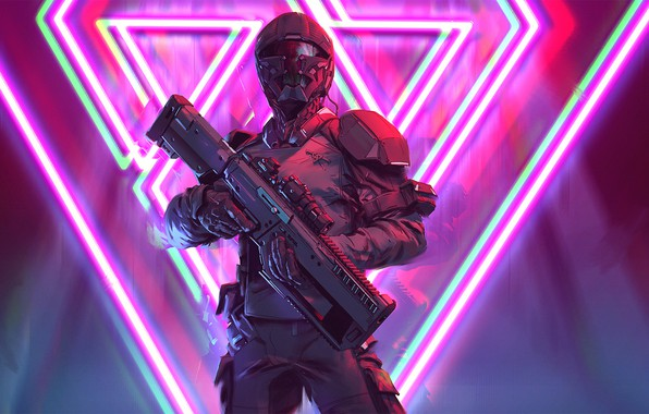 Picture soldier, cyberpunk, rifle