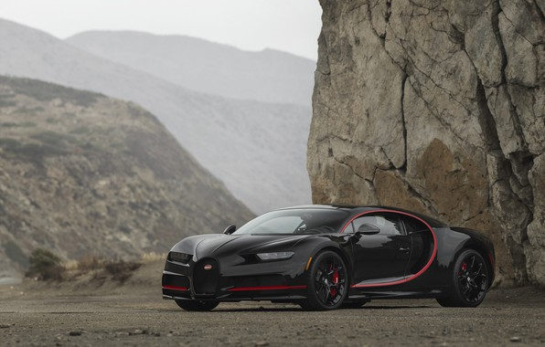 Picture Bugatti, Black, Turbo, RED, V16, VAG, Chiron
