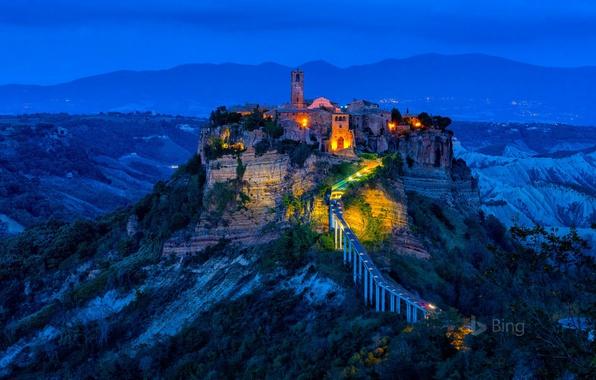 Picture night, lights, rock, tower, village, Italy, Civita di Bagnoregio