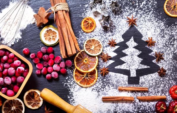 Picture berries, holiday, orange, New year, cinnamon, herringbone, powdered sugar, star anise, cranberry