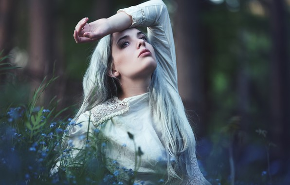Picture forest, look, girl, flowers, nature, face, pose, background, white, portrait, dress, blonde, beautiful, forget-me-nots, long-haired