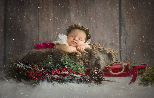 Picture snow, branches, berries, sleep, Christmas, girl, sled, wreath, bumps, baby, sleeping