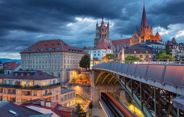 Picture bridge, building, home, Switzerland, Cathedral, Switzerland, Lausanne, Lausanne