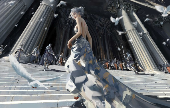 Picture girl, fantasy, armor, long hair, dress, blue eyes, birds, elf, digital art, knights, artwork, architecture, ...