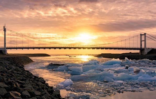 Picture Sunset, Iceland, Vestur-Skaftafellssysla, Glaicer Lagoon