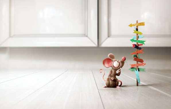 Picture minimalism, Little Rat, mouse, Bruno Tornisielo, the situation, choice, art