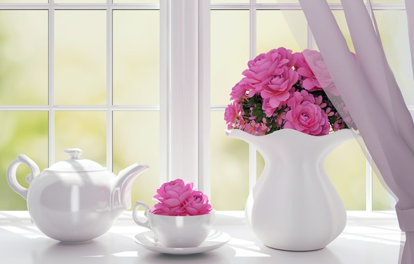 Picture flowers, roses, kettle, window, vase