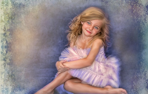 Picture smile, background, girl, pink dress