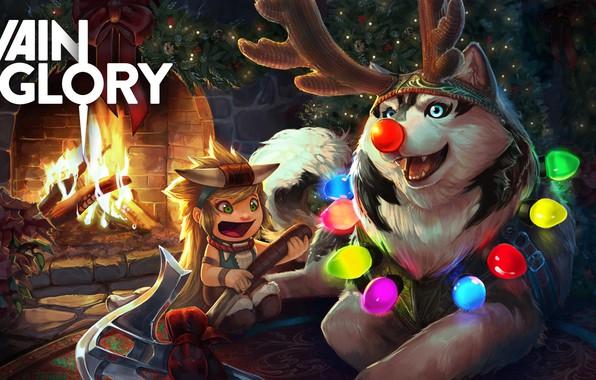 Picture holiday, the game, art, New year, fireplace, garland, herringbone, dog, husky, horns, children's, Vainglory