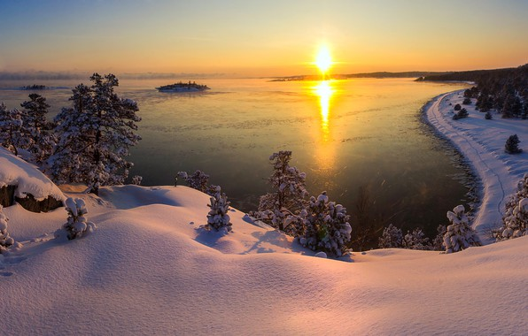 Picture winter, the sun, snow, trees, landscape, sunset, nature, lake, coast, Karelia, Ladoga