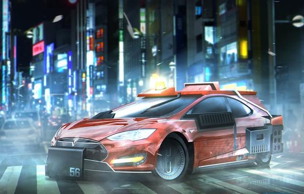 Picture car, cinema, movie, film, Tesla Model S, Blade Runner, Deckards Sedan, Blade Runner 2049, Tesla …