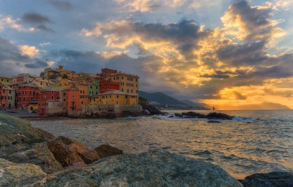 Photo wallpaper sea, sunset, coast, building, home, Italy, Italy, Italian Riviera, Genoa, Liguria, Liguria, Gulf of Genoa, ...