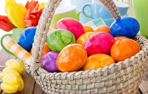 Picture flowers, basket, spring, colorful, Easter, tulips, happy, flowers, tulips, spring, Easter, eggs, decoration, the painted …
