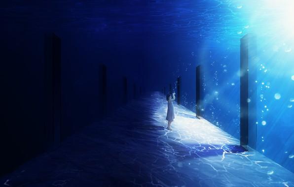 Picture girl, under water, Y_Y