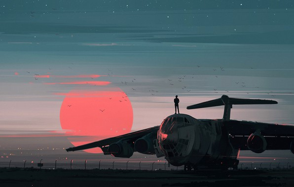 Picture red, twilight, sky, landscape, sunset, birds, sun, people, airplane, painting, aviation, artist, digital art, artwork, …