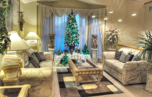 Picture flowers, sofa, holiday, lamp, plants, picture, New Year, Christmas, table, living room