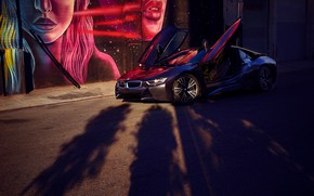Picture machine, trees, view, art, shadows, BMW i8