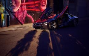 Wallpaper BMW i8, shadows, trees, machine, art, view
