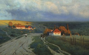 Wallpaper Evening on the Ukraine, canvas, picture, oil, landscape, Constantine Kryzhitsky