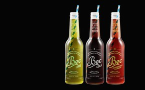 Wallpaper art, Maxime Roz, Bec Cola Bottles, straws, drink