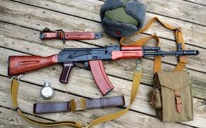 Picture hat, machine, strap, AK-47, Kalash, bayonet knife