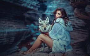 Wallpaper dog, cave, girl