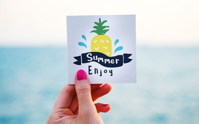 Picture summer, the inscription, figure, hand, pineapple, postcard
