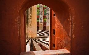Picture interior, India, window, ladder, Observatory, Jantar Mantar