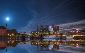 Picture the sky, stars, night, river, pier, pierce, Stockholm, Sweden, sky, Sweden, rivers, houses, Stockholm, Marinas