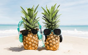 Picture sand, sea, beach, summer, stay, headphones, glasses, summer, pineapple, happy, beach, vacation, sea, headphones, sand, …