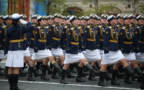 Picture girls, holiday, victory day, parade, red square, March, May 9, cadets