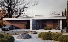Picture design, house, stones, tree, Chevrolet, Camaro, the bushes, Horizontal, Michal Nowak