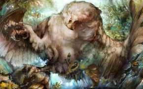Picture Eagle, bird, dragon's crown, insects