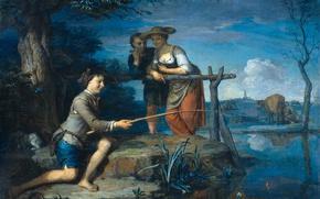 Wallpaper landscape, people, oil, cow, picture, canvas, Angler, Karel de moor