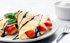 Wallpaper powdered sugar, sweet, berries, pancakes, cream, chocolate, filling, strawberry