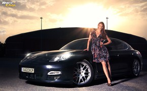 Picture look, Girls, Porsche, beautiful girl, black car, leaning on the car