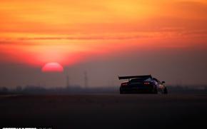 Wallpaper the sun, Super Trophy, lights, rear view, Gallardo, track, Lamborghini, morning