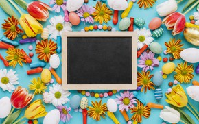 Picture flowers, chamomile, spring, colorful, Easter, tulips, sweets, chrysanthemum, flowers, tulips, spring, Easter, eggs, candy, decoration, ...