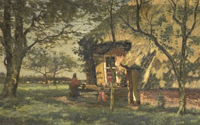 Picture oil, picture, Willem van shayk, Farm House