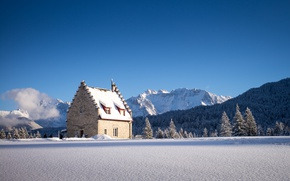 Picture winter, forest, snow, mountains, house, Germany, Bayern, Kranzbach