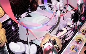 Picture girl, anime, art, umbrellas, House no Kuni