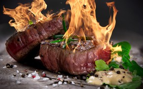 Picture fire, meat, spices, steak